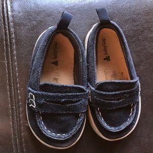 Blue velvet shoes for toddlers